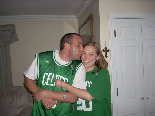 These two have sartorial splendor going for them in their Celtics green. Send us your Celtics fan photos!