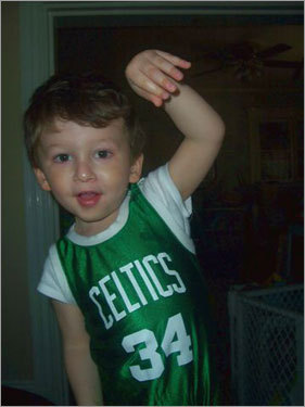 Two-year-old Matthew from Somerville is working on his follow-through. Send us your Celtics fan photos!