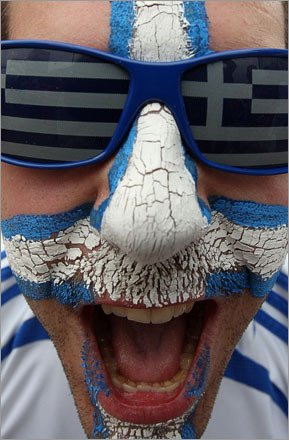 A Greek fan cheered prior to the group D match between Greece and Russia in Salzburg, Austria, Saturday, June 14, 2008, at the Euro 2008 European Soccer Championships in Austria and Switzerland.
