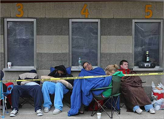 Dozens of people in line for Celtics Game 6 tickets early yesterday tried to catch up on sleep they lost before Game 5 ended late Sunday.