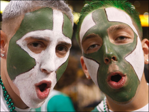 Celtics fans cheered for their team prior to Game 6 at the TD Banknorth Garden.