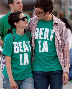 Celtics fans walked outside of the TD Banknorth Garden prior to Game 6.