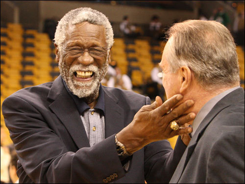 Celtics legends Bill Russell (left) and Tommy Heinsohn talked on the court prior to Game 6.