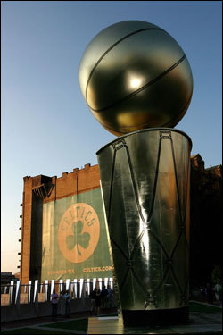 A giant replica of the Larry O'Brien trophy stood outside of the TD Banknorth Garden before Game 6.