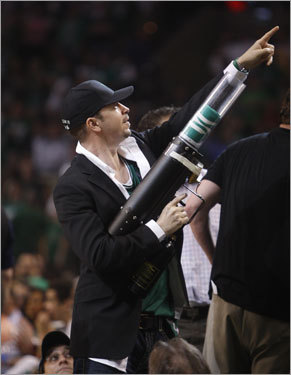 Actor Donnie Wahlberg manned the T-shirt cannon during a timeout in the second quarter of Game 6 at the TD Banknorth Garden Tuesday night.