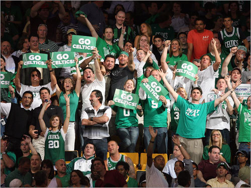 Celtics fans cheered during the game.