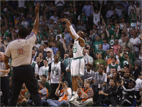 Ray Allen took a jump shot during the game.
