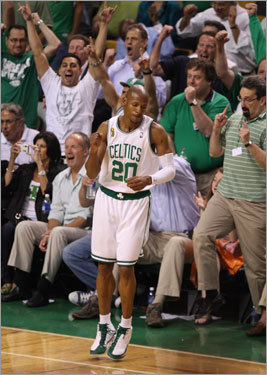 Ray Allen reacted to hitting a shot during Game 6.