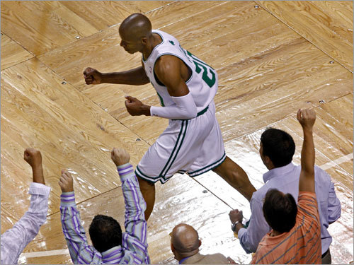 Ray Allen celebrated after sinking a shot during the second quarter.