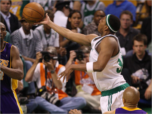 Paul Pierce put up a shot during the game.