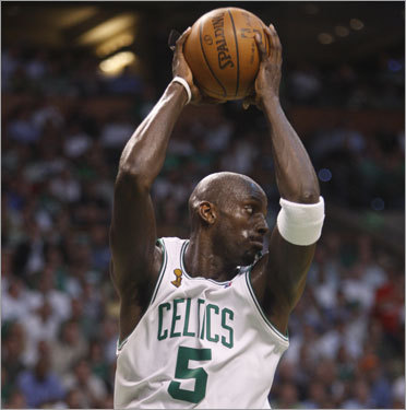 Kevin Garnett grabbed a rebound in the second half.