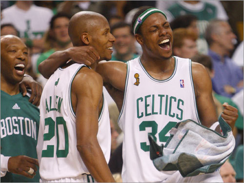 Ray Allen and Paul Pierce celebrated on the bench during the final minutes of Game 6 of the NBA Finals. Boston would go on to win 131-92 over the Los Angeles Lakers to win their first NBA Championship in 22 years.