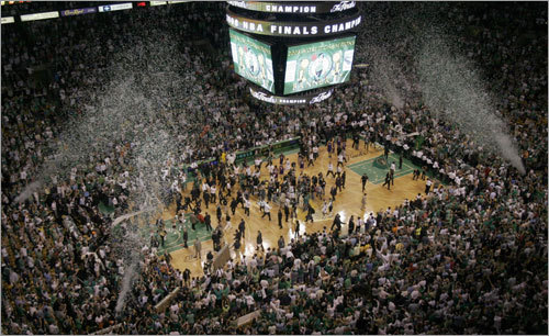 Confetti exploded as the clock ran out and the Celtics won their 17th NBA championship.