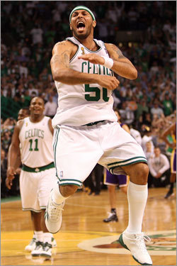 Eddie House celebrated as the buzzer sounded at the end of Game 6.