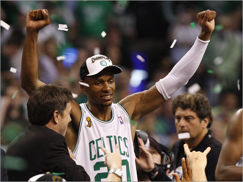 Ray Allen celebrated the Celtics' NBA championship after the Game 6 victory.