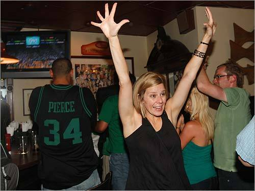 Out-of-towner Leah Lackey of Marietta, Ga. showed her Celtic pride after watching the C's take the NBA Finals away from the Lakers.