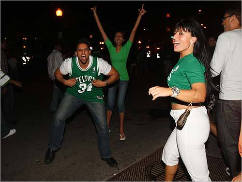 Fans were ecstatic around Quincy Market after the Celtics won Game 6 of the NBA Finals, clinching the series.