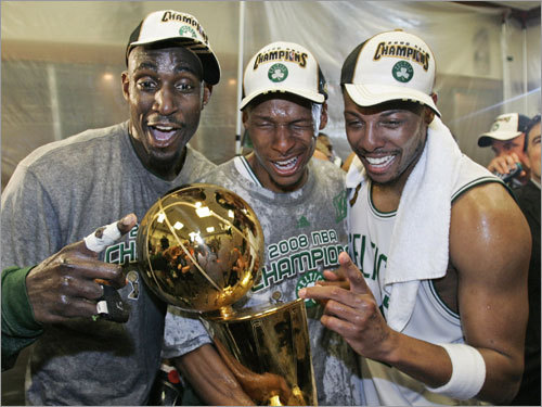 June 17: Celtics capture championship In 2007, the Celtics were coming off a miserable 24-58 campaign, second-worst in the NBA. They missed out on the two jewels of the draft, getting only the No. 5 draft pick. But savvy trades brought in stars Kevin Garnett (left) and Ray Allen (center), and the C's roared to a league-best 66-16 regular-season mark. Celtic lifer Paul Pierce (right) and Allen averaged better than 20 points per game apiece in the Finals, and Garnett poured in 18.2 points and 13 rebounds per game to bring Boston its record 17th championship in six games over the Lakers.