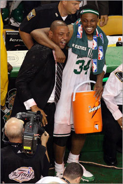 Doc Rivers and Paul Pierce embraced on the sidelines as the clock ran out on Game 6.