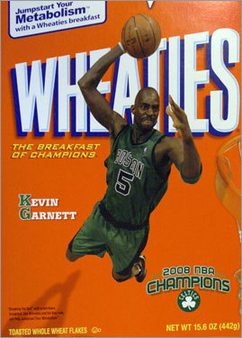 A Wheaties cereal box showed a photo of Celtics forward Kevin Garnett after the Boston Celtics beat the Los Angeles Lakers 131-92 to win the NBA basketball championship.