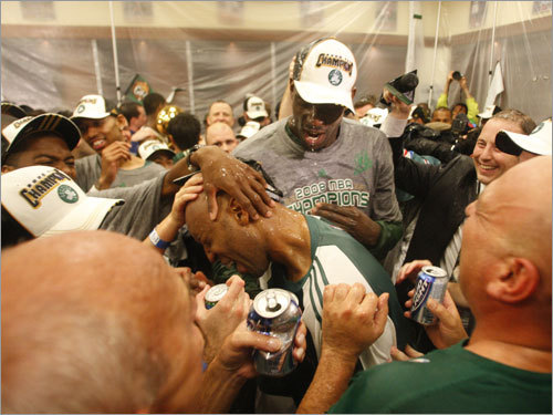 Celtics players were doused with champagne and beer in the locker room during celebrations.