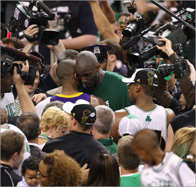 Kevin Garnett and Kobe Bryant embraced on the court after the Celtics defeated the Lakers for the NBA championship.