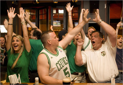 Celtics fans Erin Ajemian (left), Dan Coffey (center) and Stephen Coffey (right) celebrated as they watched the Celtics.
