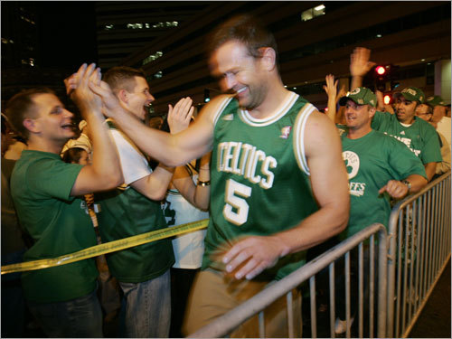 Fans congratulated each other outside of the TD Banknorth Garden.