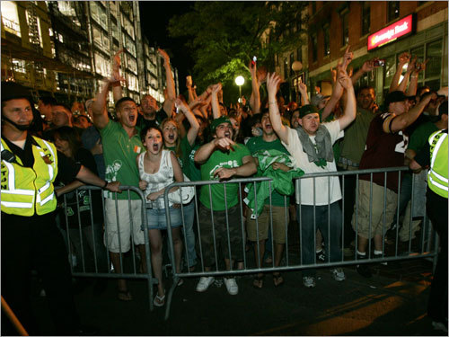 Fans celebrated the Celtics' victory.