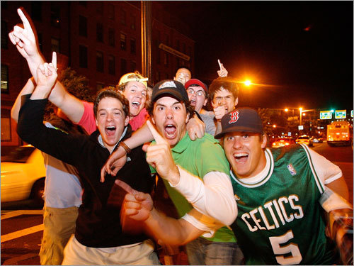 Celtics fans celebrated on the streets of Boston after the Celtics win.