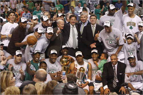 The Celtics won their NBA-record 17th championship in 2008, one year after a miserable 24-58 season. But key trades brought in the right pieces to complete a championship picture. Here's a look back at all 17 of the Celtics' championships. ( Text by Ben Gellman-Chomsky, Boston.com )