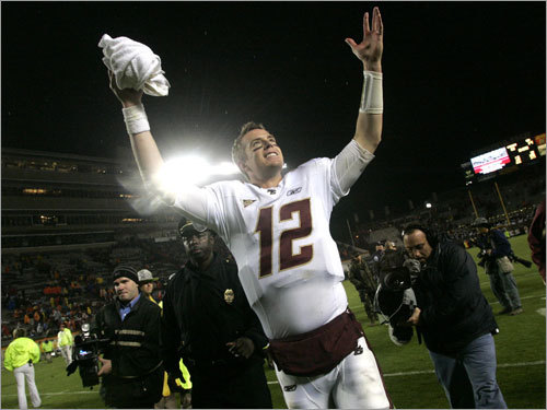 Oct. 25: BC football rises to No. 2 In 2005, Boston College moved from the Big East to the ACC, and made minor bowls in both 2005 and 2006. But in 2007, the Eagles had a new coach, Jeff Jagodzinski, and he got his tenure started with a bang. The Eagles won their first eight games, including a last-minute victory at Virginia Tech. BC was ranked as high as second in the nation, and finished the season 11-3 with a 24-21 win over Michigan State in the Champs Sports Bowl.