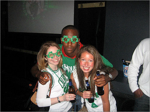 These fans cheered the Celtics on at Game On! near Fenway Park wearing some groovy green glasses. Send us your Celtics fan photos!