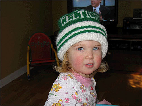 22-month-old Sydney of Warren, R.I., roots on the Celtics in style. Send us your Celtics fan photos!