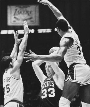 No. 7: 1984-85 Record : 63-19 Playoff record : 13-8 Result : Lost in Finals It was the second of Bird's three consecutive MVP award seasons, and the only reason the Celtics did not win the championship was the fact that the Lakers were supremely motivated, a tad deeper, and fueled by a 38-year old legend named Kareem Abdul-Jabbar. The Lakers were 1; the Celtics were 1A.