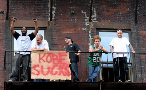 Excitement was running high along Causeway Street, opposite the Garden, as Celtics fans waited for the parade to start.