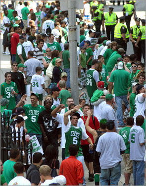 It was a sea of green along Tremont Street as fans celebrated before the parade.