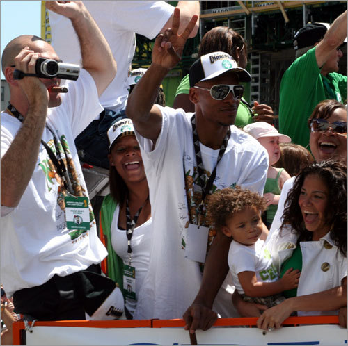Ray Allen and family hit the streets of Boston as the rally begins.