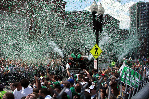 It's a sea of confetti on Causeway Street.