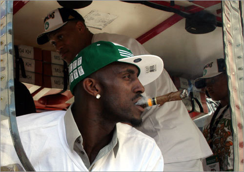 Garnett enjoys a victory cigar prior to heading out on Causeway street.