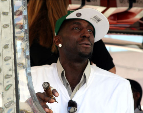 Kevin Garnett surveys the scene before the duck boats hit the streets.