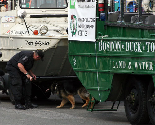 Boston Police Special Operations unit took bomb-sniffing dogs around each duck boat prior to the rally.