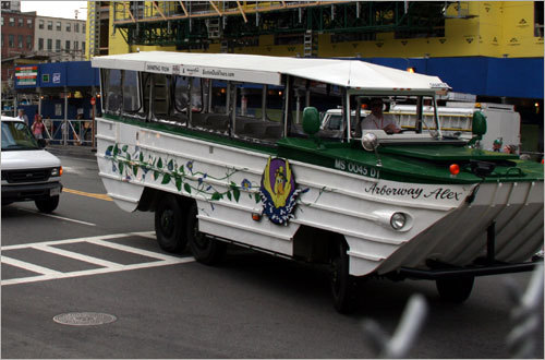 The duck boats arrive on the scene at the Garden.