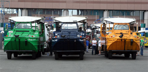 The duck boats were lined up and ready to roll before the rally.