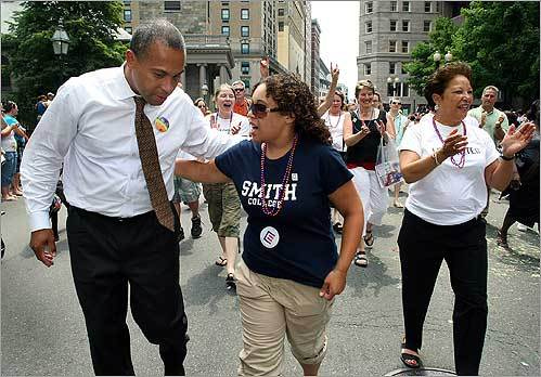 During the annual Gay Pride parade through Boston, Governor Deval Patrick walked with his daughter, Katherine, 18, and his wife, Diane, down Tremont Street in downtown Boston. Katherine Patrick had recently stated that she is a lesbian.