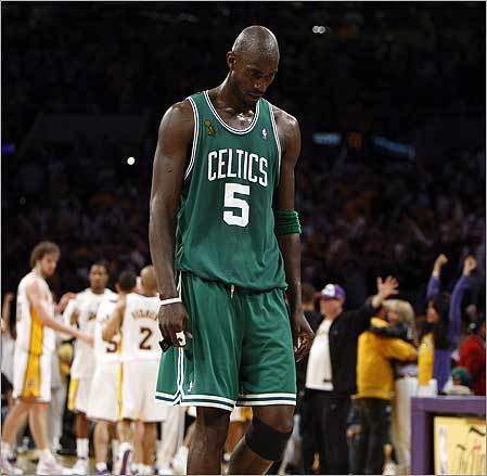 Kevin Garnett of the Celtics near the end of the fourth quarter of Game 5, which they lost to the Lakers.