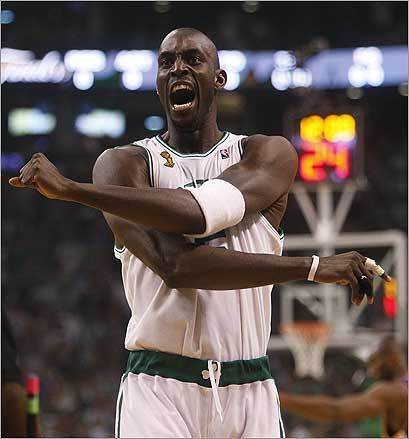The Celtics' Kevin Garnett showed his intensity during the first quarter of Game 6 of the NBA finals against the Lakers at TD Banknorth Garden.
