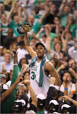 Paul Pierce, G The future Hall-of-Famer was brilliant again this year, but one game signified his importance to the Celtics, and that was his 41-point hop-on-my-shoulders effort against Cleveland in Game 7. Pierce refused to let his team lose and his iron will never wavered.
