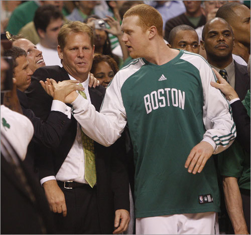 Brian Scalabrine, F Though he spent most of the season in street clothes, Scalabrine has been the consummate teammate and this was no more evident than when he helped carry Paul Pierce off the floor in Game 1 of the Finals.