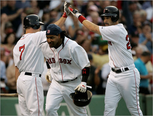 The offense The Red Sox have been raking at an impressive clip through the first half of 2008. They are second in the majors in team batting average (.279), slugging percentage (.450) and on-base percentage (.354). They are third in runs scored (406) and hits (774), fourth in stolen bases (72) and RBIs (382), and fifth in home runs (95).